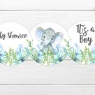 Blue Elephant Baby Shower Cupcake Topper, It's a Boy, Boy Elephant Toppers, Green Leaves, Little Peanut, Printable Cupcake Topper, BSL 95