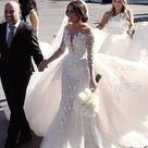 Gorgeous Mermaid Sheer Neck Long Sleeve White Wedding Dresses with Train