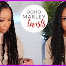1.5 Hour PROTECTIVE Style   😍JUMBO Boho MARLEY TWISTS on NATURAL 4C HAIR