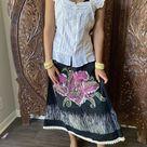 Boho Skirt, Black Rose Boho Skirt, White Embroidered SM