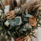 Natural Boho Wedding Bouquet with Eucalyptus and Pampas Grass