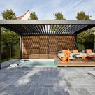 Motorized pergola with adjustable louvers CAMARGUE® By RENSON