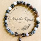 Petrified Wood & Smoky Quartz Beaded Bracelet    Reiki Infused