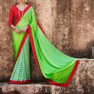 Indian Green Red Satin Jacquard AND Georgette Lovely Casual Saree