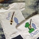 Boys fishing shirt and bib set/ 1st birthday set