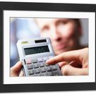Large Framed Photo. Calculator with fingers and face, calculating