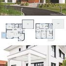 House Plans Modern Small Villa with 2 Story, 4 Bedroom & Garage - Contemporary European Design Ideas
