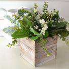 Mixed Greenery and Blossoms in a Wooden Box