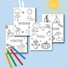 4 Seasons Kids Coloring Pages