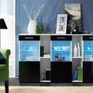 Dorade Display Sideboard Cabinet in White and Black Gloss - Black Gloss / 160cm