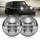 7 Inch Led Headlights DOT Approved Jeep Headlight with DRL Low Beam and High Beam for Jeep Wrangler JK LJ CJ TJ 1997-2018 Headlamps Hummer H1 H2-2020 Exclusive Patent - Silver