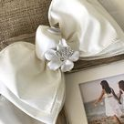 Photo Frame Gift White Bow Jewel Shells Beach Wedding Family Personalize Wood Rustic Beach House Summer Vacation Tropical  Ocean Seaside