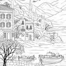 Sea Coast  Printable Adult Coloring Page from Favoreads | Etsy