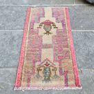 Pink Turkish Rug, Small Turkish Rug, Handmade Mini Decorative Rug, Boho Bathroom Rug, Old Turkish Rug, Pink Boho Rug, 1.1x2.3 ft