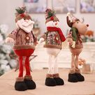 Lange Bein Stehend Weihnachten Baum Puppe Weihnachten Kleine Santa Schneemann Rentier Spielzeug Hängen Zeigen Fenster Foto Urlaub Geschenk