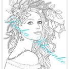 Coloring page for adults Two Coloring pages Christmas Girl | Etsy