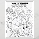 Dinosaur Kids Activity Fun Coloring Page By Number