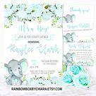Elephant Baby Shower Invitation, Printable Watercolor Blue Floral, Blue Elephant, Boho Elephant Baby Shower Invitation, Little Peanut BS54
