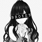 animegirl blackandwhite greyscale broken depression   anime brown hair girl PNG image with transparent background png   Free PNG Images
