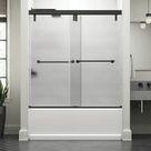 Delta Lyndall 60 In. X 59-1/4 In. Mod Semi-Frameless Sliding Bathtub Door In Bronze & 3/8 In. (10Mm) Rain Glass in Brown, Size 58.1103 H in | Wayfair