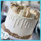 Gold & White French Macaron Drip Cake