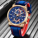 New Mens Watches Top Brand Luxury Dial Clock Male - Rose gold blue