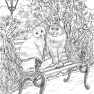 Romantic Cats - Printable Adult Coloring Page from Favoreads (Coloring book pages for adults and kids, Coloring sheets, Coloring designs)