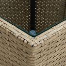 vidaXL Tea Table Beige 41.5x41.5x44 cm Poly Rattan and Tempered Glass