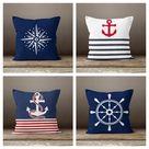 Nautical Pillow Case|Navy Marine Pillow Cover|Decorative Nautical Cushions|Anchor Throw Pillow|Red and Blue Navy Home Decor|Nautical Decor