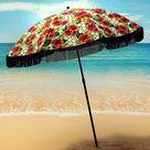 Beach Umbrella for Sand – Best Beach Umbrella Windproof with Sand Anchor Portable Sport Umbrella, Fringe, Denim Beach Umbrella Bag, Features Pointed Bottom & 100% UV Sun Protection – Bahama (Monterey) - Solana
