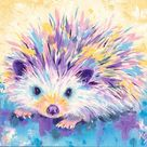 Hedgehog Art Print on Paper or Canvas of Painting by Krystle Cole