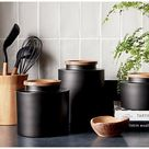 Clark Matte Black Canisters   Crate and Barrel