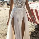 New halter white prom dress,high slit wedding dress,sexy evening dress with lace ,charming wedding dress,370
