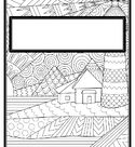 Summer Landscape Zentangle Binder Covers, Spines, Coloring Pages, Back to School