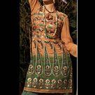 Peach & Green Pure Jacquard & Dupion Indian Salwar Kameez