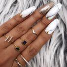 Black White Marble Gold Foil Leaf/Studs Press On Nails  Any Shape   Fake Nails   False Nails   Glue On Nails
