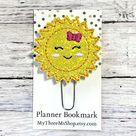 Sun Feltie Clip Sunshine Planner Paperclip, Sunshine Bookmark Summer Feltie Clip, Sun Planner Bookma