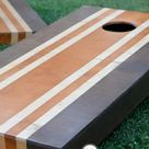 Painting Cornhole Boards   stained stripes - bystephanielynn