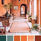 Terracotta color scheme with brown and dark sage accents