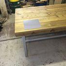 Viss set - Handmade Industrial Chic Reclaimed Railway Sleeper Table w/ Steel Box Legs. Cafe Bar Restaurant. Custom Made to Order.