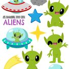 Aliens Clipart, Instant Download Vector Art, Commercial Use  Clip Art, Space, Spaceship, UFO, Flying saucer, Planet, Stars, Little Green Men