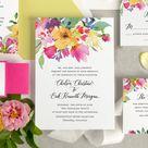 Boho wedding invitation, Watercolor flowers wedding invite, bright and colorful wedding invitation, botanical garden wedding invitation