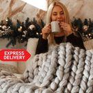 Chunky knit blanket, Super chunky blanket, chunky knit throw, arm knit blanket, merino wool blanket,