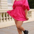 Stunning Puff-sleeved Pink Poplin Dress