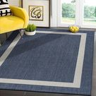 Modern Area Rugs for Indoor/ Outdoor Bordered - Blue / White - 6x9