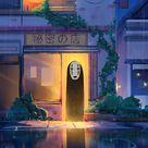 spirit at shop entrance, anime, original, art, 1920x1080 wallpaper