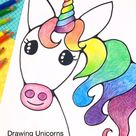 Unicorn Drawing with Rainbow Colors