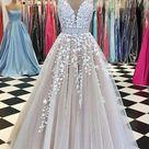 Tulle A line V Neck Floor Length Sleevesless Long Prom Dresses, PL182
