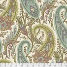 Fabric Cashmere Paisley, Garden, from Cashmere Collection, Sanderson, for Free Spirit, PWSA012.GARDEN   fat 1/4