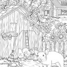 Pigs  Printable Adult Coloring Page from Favoreads Coloring   Etsy